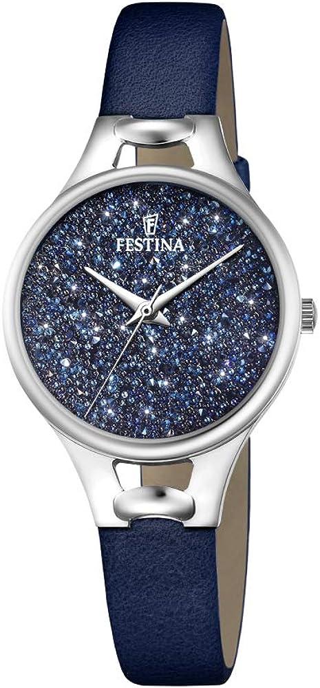 Festina orologio cronografo da donna con cassa in acciaio inossidabilee cinturino in vera pelle F20334/2