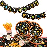 Herefun 170 PCS Set di Stoviglie a Tema Halloween, Forniture per Feste di Halloween con Striscione di Halloween, Tovaglia, Piatti di Carta, Tovaglioli, Bicchieri di Carta