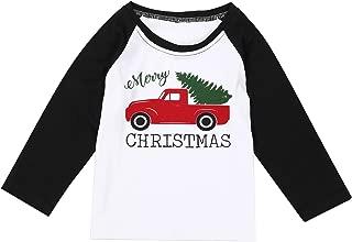 Newborn Baby Boy Girl Merry Christmas Tshirt Christmas Car Xmas Tree Cute Long Sleeve Raglan Christmas Shirt Top
