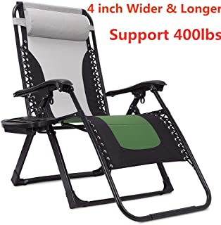 Support 400lbs Padded Zero Gravity Chair Oversized, 4 inch Wider and Longer Extra Wide Lounger Chair Recliner with Cup Holder and Headrest (Green+Grey)