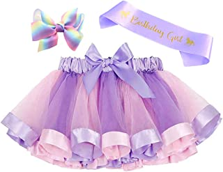 Layered Rainbow Tutu Skirt Costumes Set with Hair Bows Clips and Satin Sash for Girls Birthday Party Dress up (Purple Rainbow, M,2t~4t)