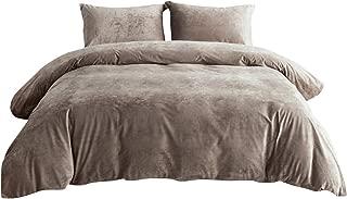 PHF Velvet Duvet Cover Set 3 Pieces Luxury Soft Solid Bedding Set for Winter Heavyweight Warm King Size Dark Khaki