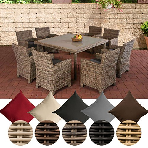 CLP St Augustin Polyrattan Garden Furniture Set with 8 Seats Complete Set: 8 Garden Chairs and 1 Bistro Table Colour: Natura Upholstery Colour: Iron Grey