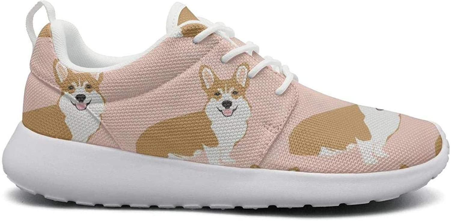 FEWW11 Women Cool Lightweight shoes Sneakers Corgi Pink Pastel Dog Breathable Gym Lace-Up