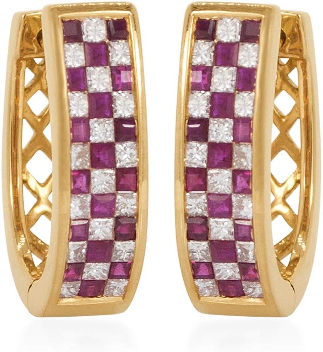 RAKAM Diamond & Ruby Clip-On Earrings