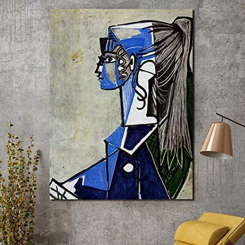 YWOHP Retrato de Mujer en Silla Verde sobre Lienzo Lienzo póster impresión Abstracta Pintura Mural decoración Imagen decoración del hogar sin Marco -40 * 60 cm