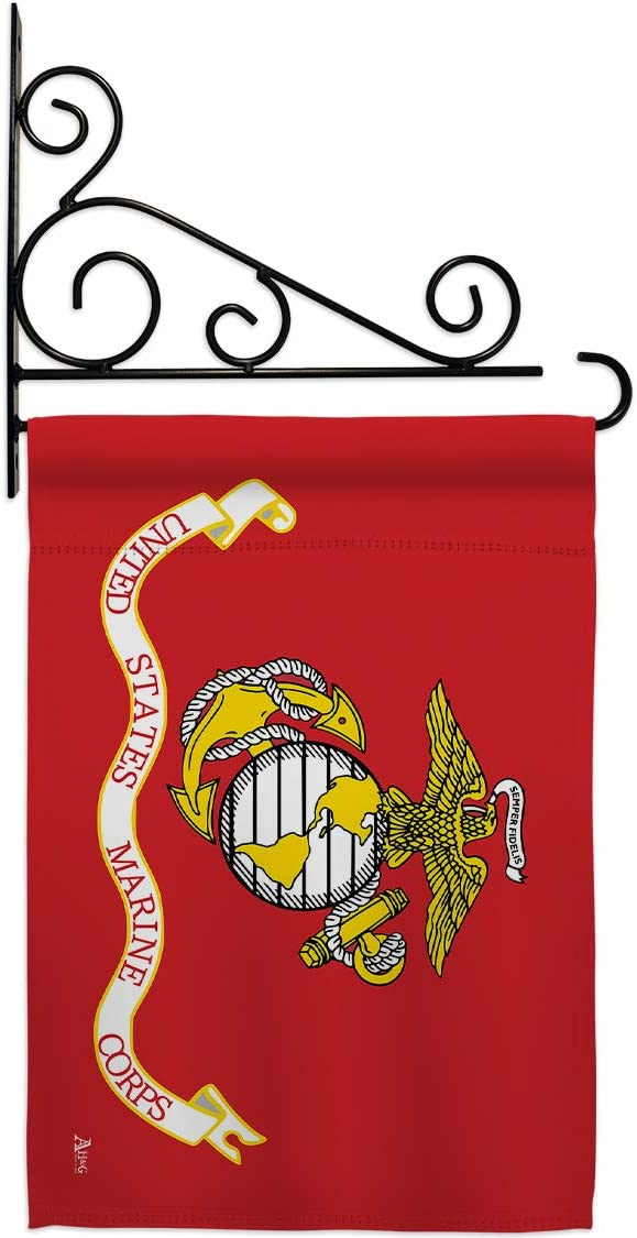 Marine Corps Garden Flag Set Wall 期間限定送料無料 通信販売 Sempe Holder USMC Forces Armed
