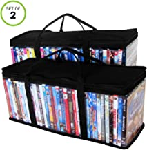 Evelots DVD/Blu Ray/Video-Storage Bag-Clear-Handle-Hold 80 Total-Black Top-Set/2