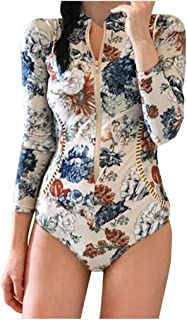 Dolloress Women's Surf Suit Flower Floral Printed Long Sleeve Rash Guard Swimsuits Zip-Up Swimwear Bathing Suits