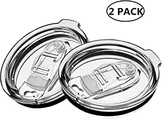 2 Pack Spill Proof and Splash Resistant Tumbler Lids for Yeti Rtic Ozark Trails Tumbler Rambler Cups 10 | 20 oz 30 oz Replacement Lid with Brush (3 inch -10 | 20 oz)