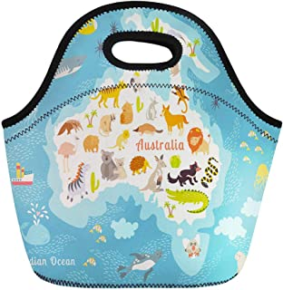 Semtomn Neoprene Lunch Tote Bag Animals World Map Australia Australian Mammals Cartoon Preschool Baby Reusable Cooler Bags Insulated Thermal Picnic Handbag for Travel,School,Outdoors, Work