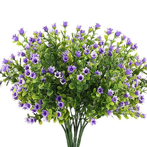 HUAESIN 4pcs Flores Artificiales Exterior Interior Rama Eucalipto Artificial Arbusto Decorativa con Flor Plastico Purpura para Jarrones Jardinera Balcon Terraza Cocina Patio Mesa Boda Fiesta Maceta