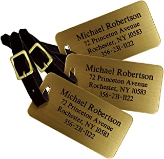 Custom Luggage Tag - Custom Brass Luggage Tag - Set of 3 - Personalized Luggage Tag - Perfect Gift for Boss - Professional Gift for Coworker