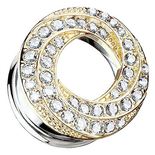 Taffstyle Piercing dilatador para la oreja, acero inoxidable, vintage, tribal, doble aleta con cristal brillante, 8 mm, plata y oro