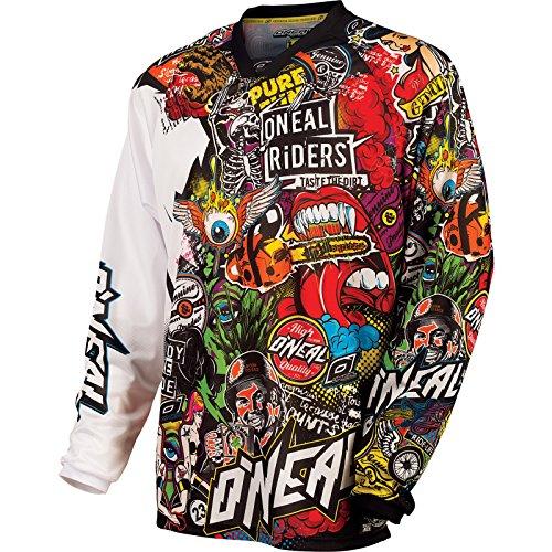 O'Neal | Motocross Camicia a Maniche Lunghe | MX Enduro Moto | Asciugatura Rapida e Materiale Leggero di Prestazioni, Design Senza Colletto | Mayhem Jersey Crank | Adulto | Nero Multi | Taglia L