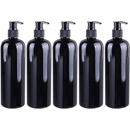 dispensador de gel de manos vac/ío ba/ño color negro para cocina 300 ml para limpieza de l/íquidos higi/énicos exterior TOPBATHY 4 unidades de botellas con bomba rellenable