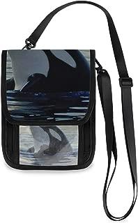 Killer Whale Neck Wallet Concealed Passport Holder and Family Travel Neck Pouch Hidden Passport Holder Wallet Neck Stash Document Organizer For Men Women