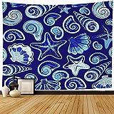 Tapiz de pared Color Naturaleza Gráfico Náutico Acuarela Conchas de verano Juego de conchas pintadas Estrella de mar Acuario Tapiz de estrella de mar Tapiz de playa para colgar en la pared para decora