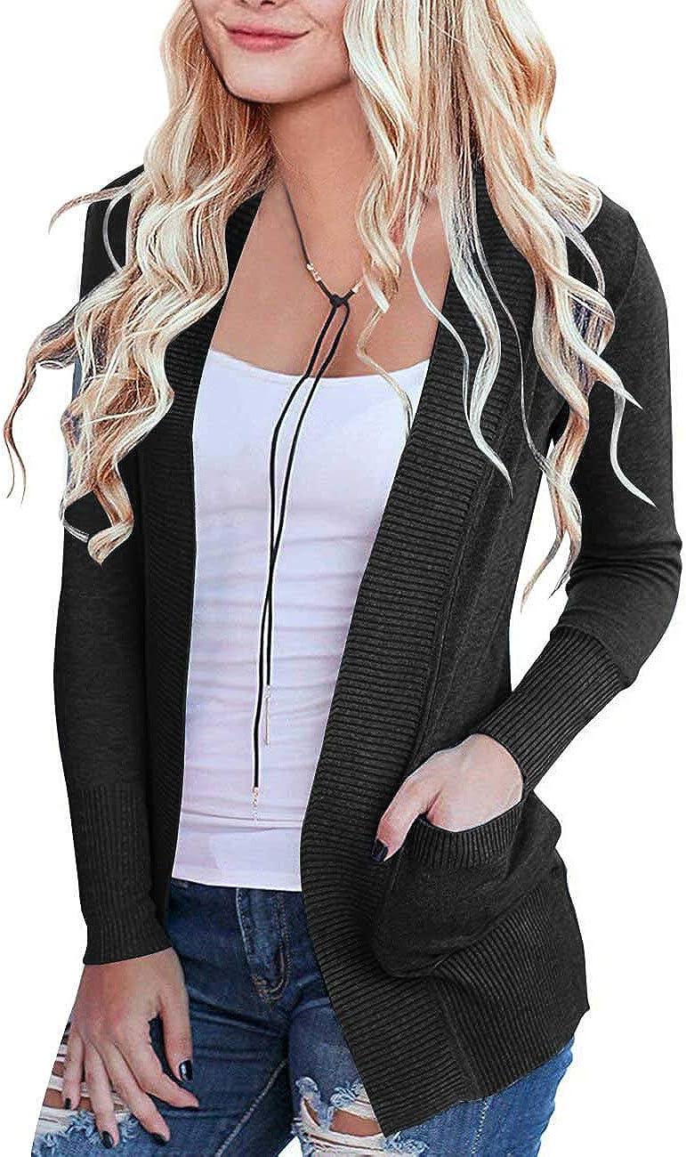 MEROKEETY Women's Open Front Casual Knit Cardigan Classic Long Sleeve Sweater Coat