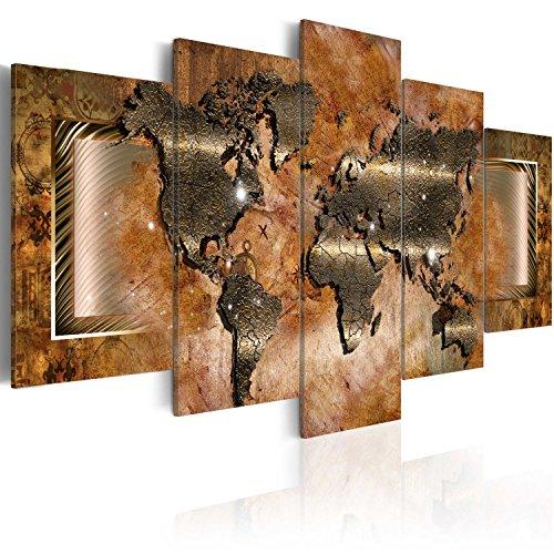 murando Acrylglasbild Weltkarte 200x100 cm 5 Teilig Wandbild auf Acryl Glas Bilder Kunstdruck Moderne Wanddekoration - Landkarte Kontinente Ornament Textur Gold k-C-0012-k-n