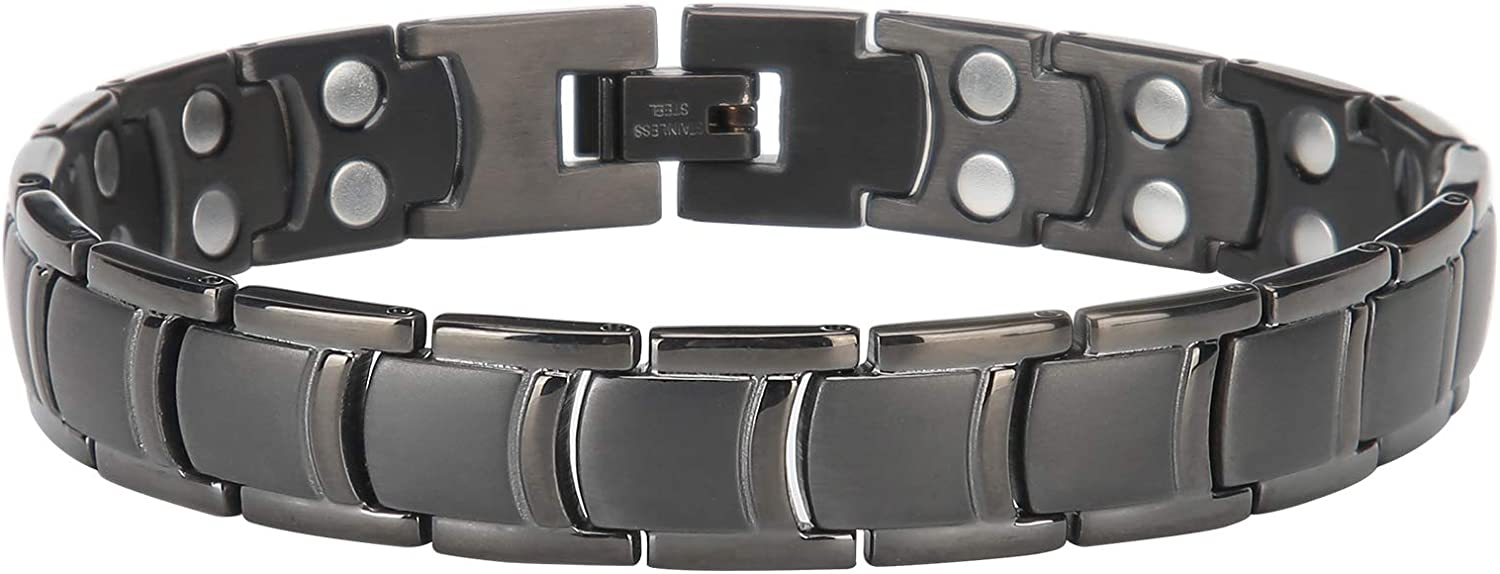 Men Ranking TOP4 Women Magnetic Bracelet DoubleRow Therapy Black NEW before selling A