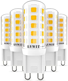 LVWIT Bombillas LED G9-3.5W equivalente a 40W, 400 lúmenes, Color blanco cálido 3000K, Sin efecto flash. No regulable - Pack de 5 Unidades.