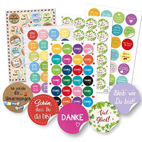 Logbuch-Verlag buntes Sticker Set Mix - DANKE + VIEL GLÜCK + Sprüche Aufkleber - Verzierung Geschenke Verpackung Post Scrapbooking Spruchaufkleber