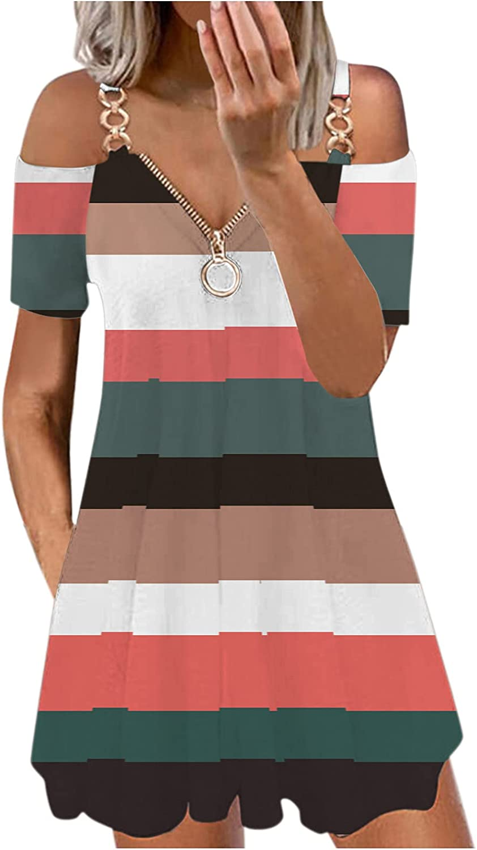 Littleice Women Off Shoulder Mini Dress,Casual V-Neck Short Sleeve Strap Open Back Zipper Dress for Women