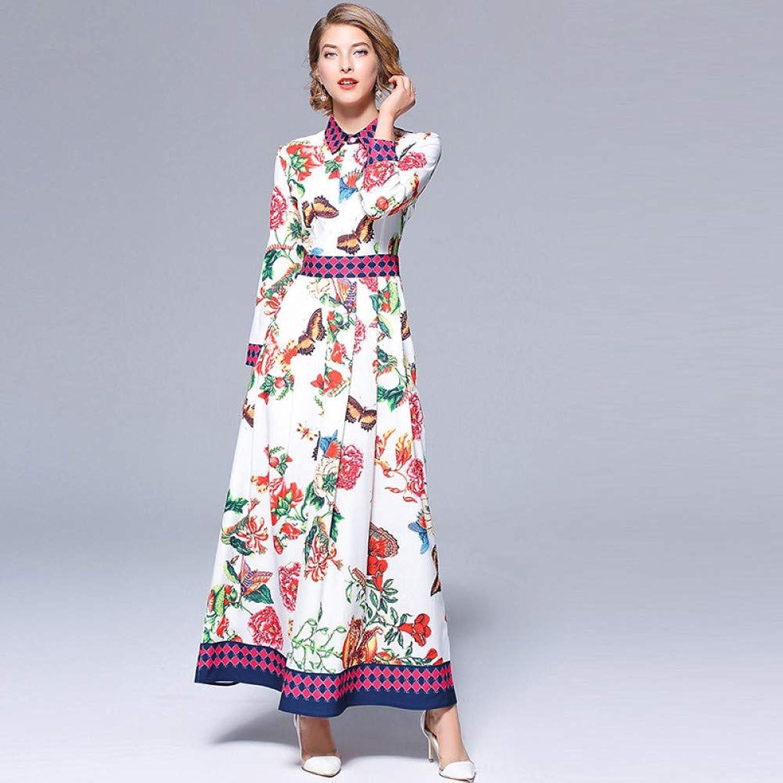 Cxlyq Dresses Women's Fashion Waist Slim Printed Long Sleeve Goddess Dress