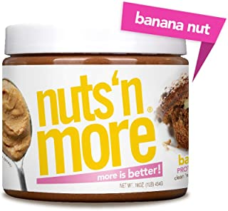 Nuts 'N More Banana Nut Peanut Butter Spread, Keto, All Natural High Protein Nut Butter Healthy Snack, Omega 3's, Antioxidants, Low Carb, Low Sugar, Gluten Free, Non-GMO, Preservative Free, 16 oz Jar
