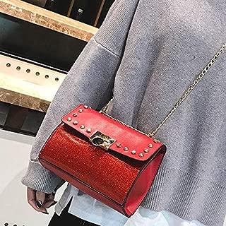 Fashion Single-Shoulder Bags Leisure Fashion PU Leather Chain Slant Shoulder Bag (Black) (Color : Red)