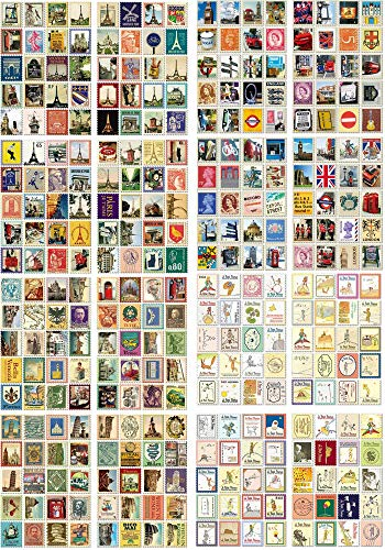 4 Sätze(320 Pcs)Mini Vintage Aufkleber Stempel Scrapbooking Aufkleber für Scrapbook Kalender Notizbuch Tagebuch Fotoalbum DIY Dekoration, Charakter, Gebäude