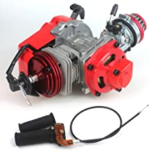 49cc 52cc Big Bore Pocket Bike Engine with Performance Cylinder CNC Engine Cover Racing Carburetor DIY Engine (Engine + Handle Grip + Throttle Cable, Red)