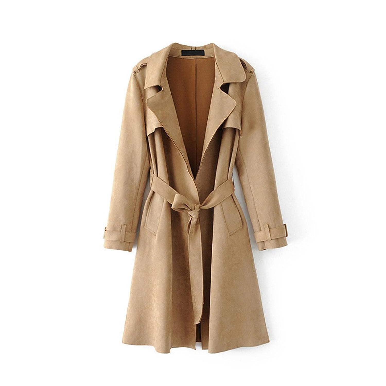 [美しいです] トレンチコート レディース コート ベルト 欧米風 ゆったり 無地 春 夏 秋 冬 スエード