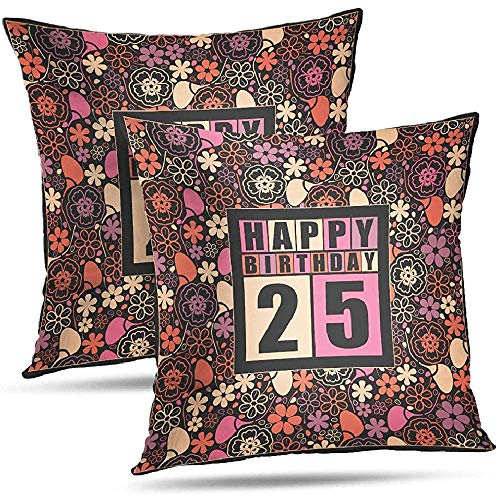Stoelkussens Cartoon ABC en Numbers Patroon Kussensloop Kussenslopen Retro Happy Verjaardagskaart Bloemen Retro Happy Kussensloop Gift Retro Happy