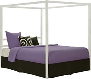 DHP Modern Canopy Bed with Built-in Headboard, Classic Design, Queen Size, White