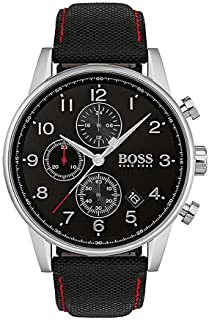 Hugo Boss Navigator Men's Black Dial Leather Band Watch - 1513535