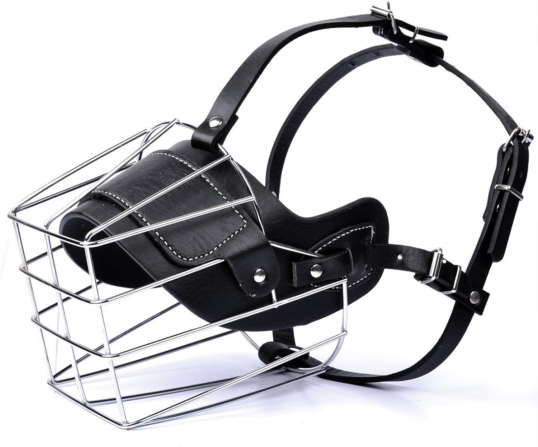 MyfatBOSS Dog Muzzle, Adjustable Wire Leather Basket Mask for AntiBite, Soft Dog Bark Muzzle for Medium Large Size (XL)