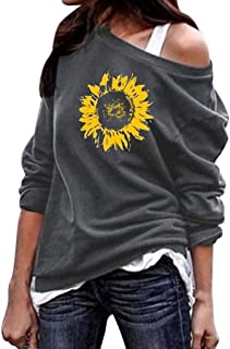 Casual Loose Sweatshirt,Londony 🌞 Women's Off The Shoulder Tops Baggy Shirt Long Sleeve Blouse Sweater Jumper Pullover Gray