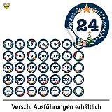 24 Adventskalender-Zahlen + 11 Motive (Aufkleber Etiketten Sticker) | Romantic Snow Dekor | Schrift: Butterkeks | Rund | S » Ø 24 mm | Nacht-Blau | FA0013-03