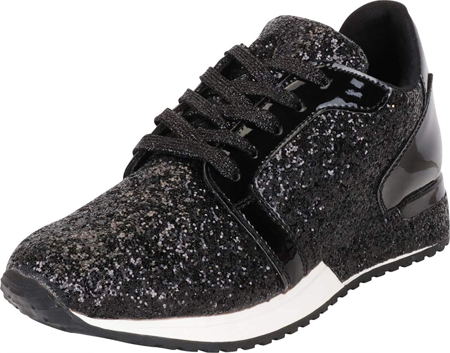 Cambridge Select Women's Low Top Glitter Encrusted Lace-Up Casual Sport Fashion Sneaker
