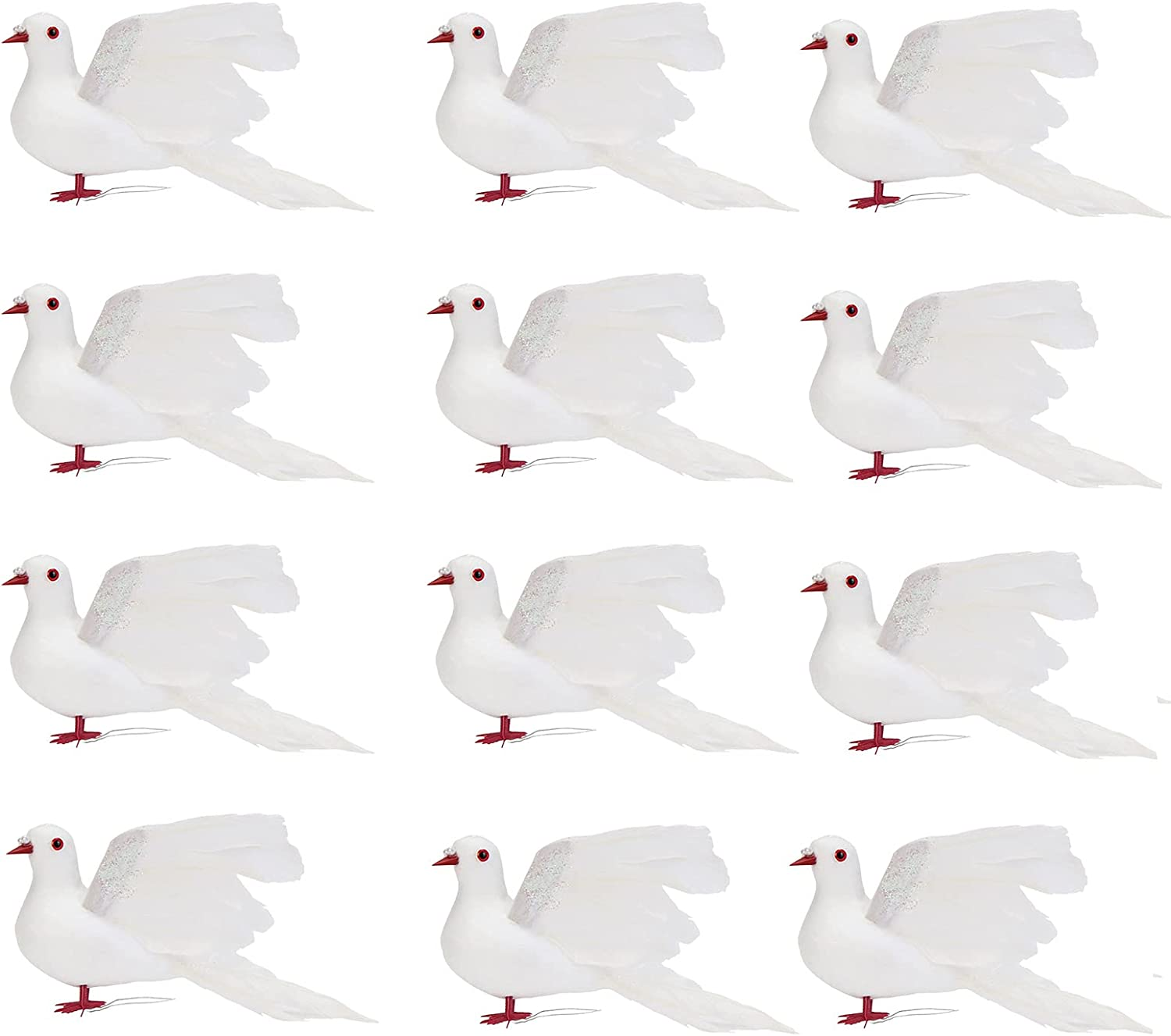 Max 60% OFF HUIKJI 12Pcs Artificial Christmas New Orleans Mall Dove Feather Birds