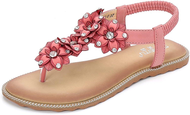 Meeshine Summer T-Strap Flip Flops Flower Beaded Elastic Slip On Flat Sandals