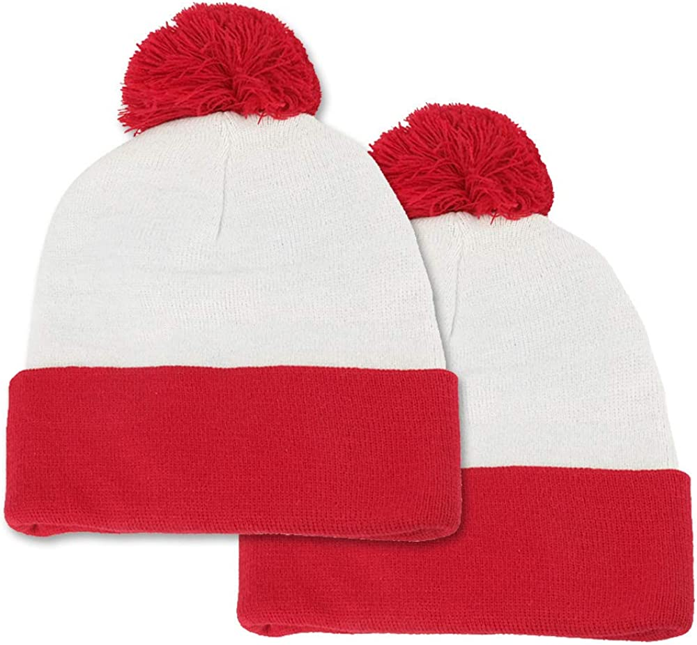 Red White Knitted Hat 2 Pack Pom Pom Cuff Beanie Hats Halloween Costume Beanies BAODLON Halloween Knit Hat Beanie Hat Christmas Cuff Knit Hat