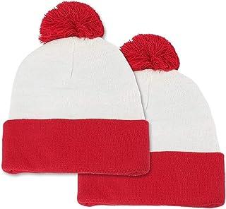 Red White Pom Pom Cuff Knit Beanie Hat