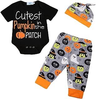 Unisex Newborn Baby Boys Girls First Halloween Romper Bodysuit Pants Hat Outfit Clothes Set