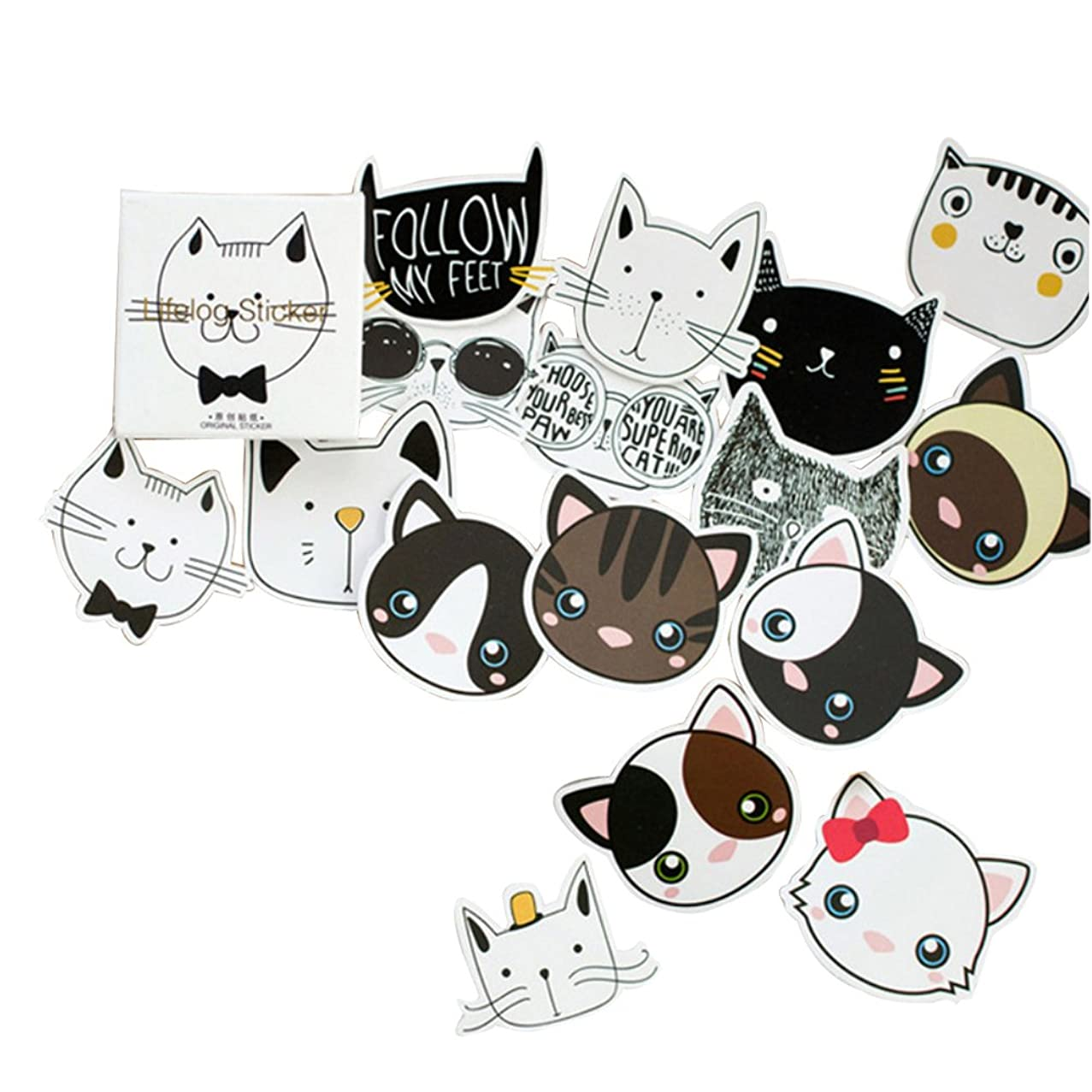 5 Set(225pcs) Cute Cat Diary Planner Scrapbooking Stationery Paper Label School Office Supplies Hand Made Gift Packing Baking Stickers Kids Decorative Sticker
