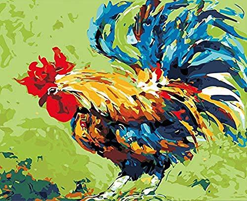 DQSJYH Pintura digital para adultos, kit abstracto de pintura de gallo de la noche de Venecia por números, para adultos y niños principiantes con pincel, para principiantes de 16 x 20 sin marco