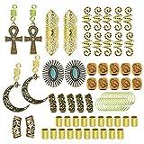 RechicGu Gold and Silver Pack 75PCS Wig Braid Cuff Rings Dreadlock Loc Beard Mambo Beads Rasta Updo Hair Dress Clip Pin Cross Turquoise Fan Moon