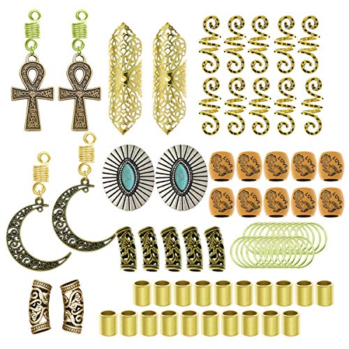 RechicGu Gold and Silver Pack 75PCS Wig Braid Cuff Rings Dreadlock Loc Beard Mambo Beads Rasta Updo Hair Dress Clip Pin Cross Turquoise Fan Moon